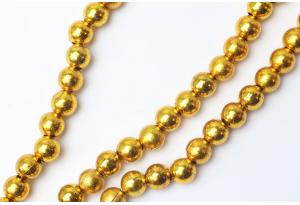Бусины гальваника 8 мм, золото