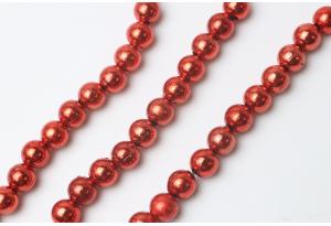 Бусины гальваника 8 мм, красные