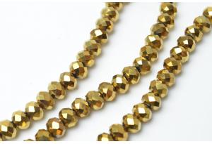 Бусины хрустальные (рондель) 8x6 мм, золотое напыление