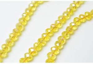 Бусины хрустальные (рондель) 8x6 мм, прозрачные желтые с АБ