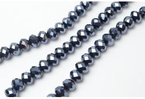 Бусины хрустальные (рондель) 8x6 мм, графитовые с АБ