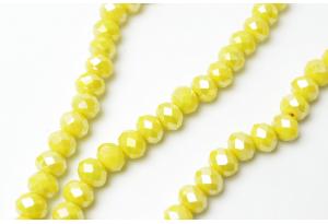 Бусины хрустальные (рондель) 8x6 мм, желтые с АБ
