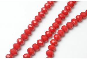 Бусины хрустальные (рондель) 8x6 мм, красные