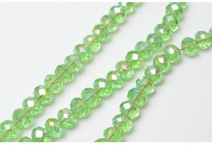 Бусины хрустальные (рондель) 8x6 мм, прозрачные зеленые с АБ