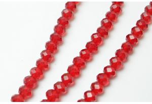 Бусины хрустальные (рондель) 8x6 мм, прозрачные рубиновые