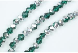 Бусины хрустальные (рондель) 8x6 мм, зеленые с серебром