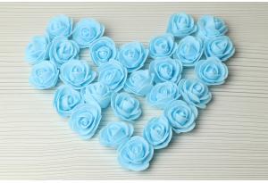 Бутон розы из латекса, 3 см, голубой