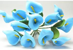 Цветы Каллы, 1.5x2.5 см, синие, в пучке 12 цветков