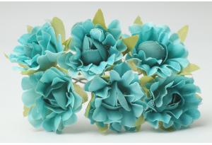 Цветы Гвоздика, 2,5 см, морская волна, в пучке 6 цветков