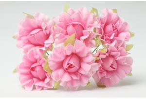 Цветы Гвоздика, 2,5 см, розовая, в пучке 6 цветков