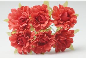 Цветы Гвоздика, 2,5 см, красная, в пучке 6 цветков