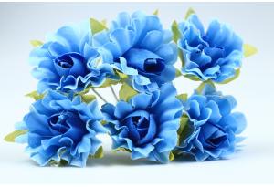 Цветы Гвоздика, 2,5 см, синяя, в пучке 6 цветков