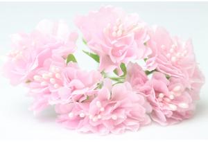 Цветы Хризантема (тканевая), 3,5 см, светло-розовая, в пучке 6 цветков