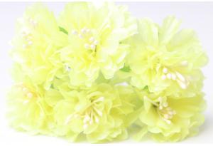 Цветы Хризантема (тканевая), 3,5 см, желтая, в пучке 6 цветков