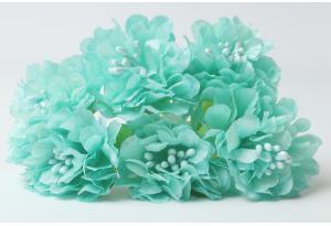 Цветы Хризантема (тканевая), 3,5 см, тиффани, в пучке 6 цветков