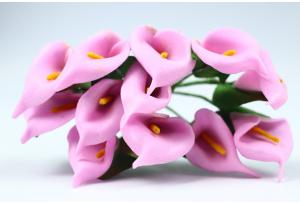 Цветы Каллы, 1.5x2.5 см, розовые, в пучке 12 цветков