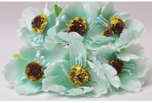 Цветы Маки, 4.5 см, тиффани, в пучке 6 цветков
