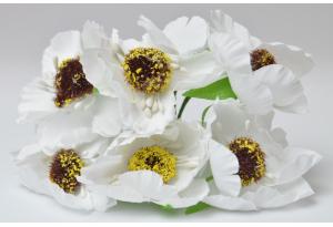 Цветы Маки, 4.5 см, белые, в пучке 6 цветков