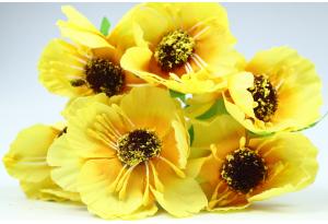 Цветы Маки, 4.5 см, желтые, в пучке 6 цветков