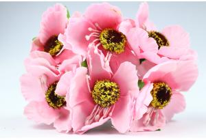 Цветы Маки, 4.5 см, розовые, в пучке 6 цветков