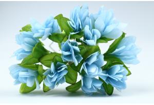 Цветы Подснежник, 2.5x1.5 см, голубой, в пучке 11-12 цветков