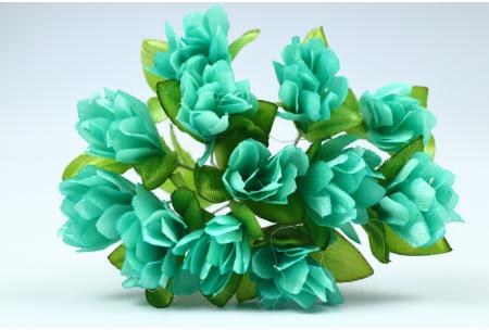 Цветы Подснежник, 2.5x1.5 см, морская волна, в пучке 11-12 цветков