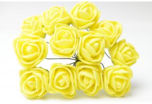 Роза 2 см, желтая, в пучке 12 цветков