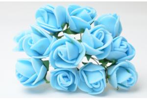 Роза 2 см, голубая, в пучке 12 цветков