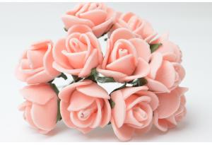 Роза 2 см, персиковая, в пучке 12 цветков