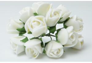 Цветы Роза 1.7 см, белая, в пучке 12 цветков