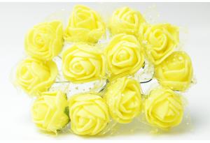 Роза с фатином 2 см, желтая, в пучке 12 цветков