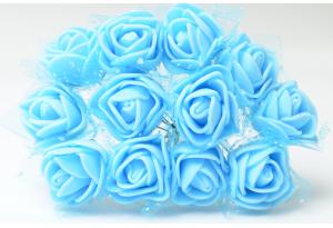 Цветы Роза с фатином 2 см, голубая, в пучке 12 цветков