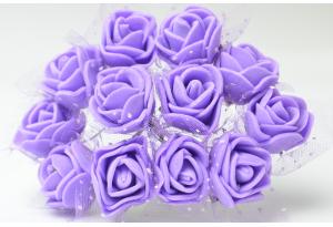 Цветы Роза с фатином 2 см, фиолетовая, в пучке 12 цветков