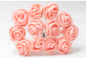 Роза с фатином 2 см, персиковая, в пучке 12 цветков