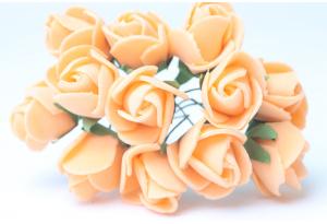 Цветы Роза 1.7 см, светло-оранжевая, в пучке 12 цветков
