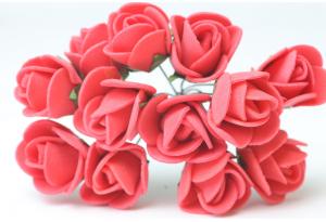 Цветы Роза 1.7 см, красная, в пучке 12 цветков