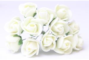 Цветы Роза 1.7 см, айвори, в пучке 12 цветков