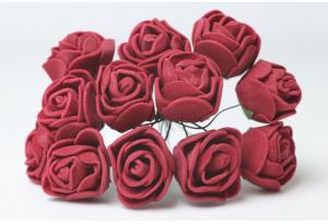 Цветы Роза 1.7 см, бургунди, в пучке 12 цветков