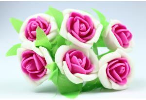 Цветы Роза двухцветная 2.5-3 см, бело-малиновая, в пучке 6 цветков