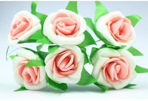 Цветы Роза двухцветная 2.5-3 см, бело-розовая, в пучке 6 цветков