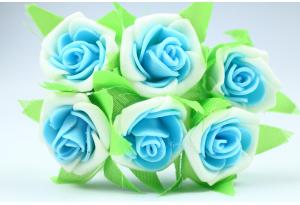 Цветы Роза двухцветная 2.5-3 см, бело-голубая, в пучке 6 цветков