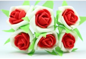 Цветы Роза двухцветная 2.5-3 см, бело-красный, в пучке 6 цветков