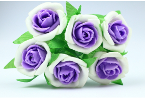 Цветы Роза двухцветная 2.5-3 см, бело-фиолетовый, в пучке 6 цветков