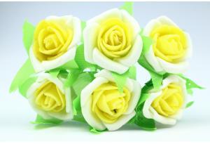 Цветы Роза двухцветная 2.5-3 см, бело-желтая, в пучке 6 цветков