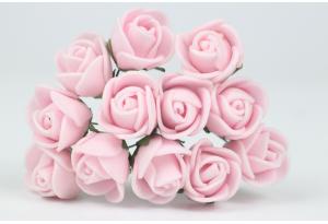 Цветы Роза 1.7 см, розовая, в пучке 12 цветков