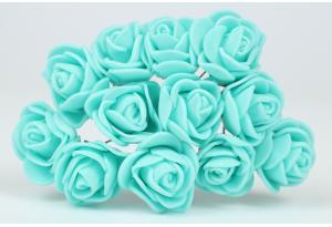 Цветы Роза 1.7 см, тиффани, в пучке 12 цветков