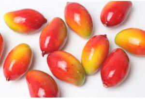 Фрукты, манго, 3 см, красно-желтый
