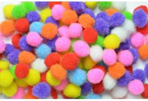 Помпоны, 10 мм, цветной микс