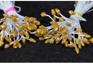 Тычинки для цветов c глиттером, 3 мм, длина нити 6 см, в пучке 100 тычинок, золотые