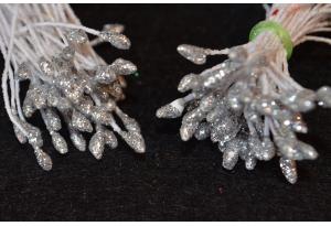 Тычинки для цветов c глиттером, 3 мм, длина нити 6 см, в пучке 100 тычинок, серебряные